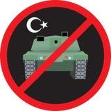 Στρατιωτικό χτύπημα της Τουρκίας Δεξαμενή ενάντια στην απαγόρευση σημαδιών υποβάθρου διανυσματική απεικόνιση