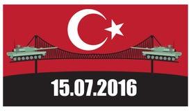 Στρατιωτικό χτύπημα της Τουρκίας Δεξαμενή ενάντια στην απαγόρευση σημαδιών υποβάθρου απεικόνιση αποθεμάτων