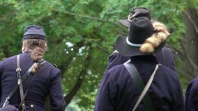 Στρατιώτες ένωσης εμφύλιου πολέμου που διοργανώνουν μια συνεδρίαση απόθεμα βίντεο
