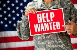 Στρατιώτης: Αναζήτηση μιας νέας θέσης εργασίας Στοκ Φωτογραφίες