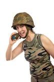 στρατιώτης εκμετάλλευσης χεριών χειροβομβίδων κοριτσιών Στοκ εικόνα με δικαίωμα ελεύθερης χρήσης