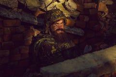 Στρατιώτης με το πρόσωπο στοκ φωτογραφίες
