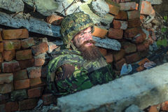 Στρατιώτης με το πρόσωπο Στοκ Εικόνες