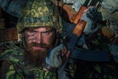 Στρατιώτης με το πρόσωπο Στοκ φωτογραφίες με δικαίωμα ελεύθερης χρήσης