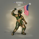 Στρατιώτης σημαιών ημέρας μνήμης διανυσματική απεικόνιση