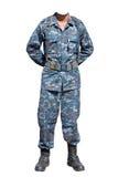 Στρατιώτης στη θέση υπολοίπου παρελάσεων θέσεων που απομονώνεται στην άσπρη πλάτη Στοκ Φωτογραφία