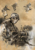 Στρατιώτης στη μάσκα - μια συρμένη χέρι απεικόνιση Στοκ φωτογραφία με δικαίωμα ελεύθερης χρήσης