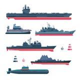 Στρατοκρατικά εικονίδια σκαφών διανυσματική απεικόνιση