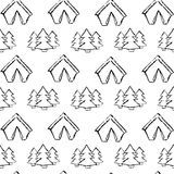Στρατοπέδευση - doodles συλλογή Συρμένο χέρι άνευ ραφής σχέδιο στρατοπέδευσης Στοκ Φωτογραφίες
