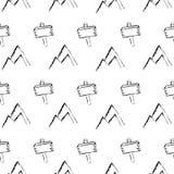 Στρατοπέδευση - doodles συλλογή Συρμένο χέρι άνευ ραφής σχέδιο στρατοπέδευσης Στοκ Φωτογραφία