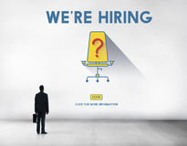 Στρατολόγηση επαγγέλματος αναζήτησης εργασίας We& x27 επαν έννοια μίσθωσης Στοκ Φωτογραφίες