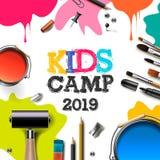 Στρατόπεδο 2019, εκπαίδευση, έννοια τέχνης παιδιών τέχνης δημιουργικότητας Έμβλημα ή αφίσα με το άσπρο υπόβαθρο, συρμένες χέρι επ ελεύθερη απεικόνιση δικαιώματος