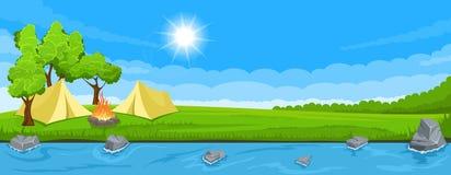 Στρατόπεδο σκηνών στην όχθη ποταμού απεικόνιση αποθεμάτων