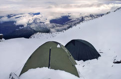 Στρατόπεδο βάσεων της αποστολής βουνών μεγάλου υψομέτρου Στοκ Εικόνες