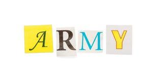 Στρατός επιγραφής που χαράζεται από τις επιστολές εφημερίδων που απομονώνονται στο λευκό Στοκ Φωτογραφία