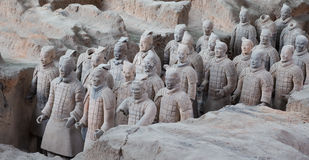 Στρατός τερακότας δυναστείας Qin, Xian (Σηάν), Κίνα στοκ φωτογραφία