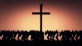 Στρατός του ιππότη που βαδίζει σε έναν ιερό πόλεμο απόθεμα βίντεο