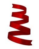 Στριμμένη κόκκινη κορδέλλα σατέν Στοκ Εικόνες