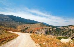 Στριμμένος δρόμος κολπίσκου μέσω των βουνών Pryor στη Μοντάνα στοκ εικόνες