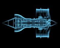 Στροβιλο αεριωθούμενη μηχανή (τρισδιάστατος των ακτίνων X μπλε διαφανής) Στοκ Φωτογραφίες