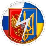 Στρογγυλά εμβλήματα αυτοκόλλητων ετικεττών της Ρωσίας και της Ουκρανίας στο υπόβαθρο των εθνικών σημαιών