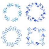 Στρογγυλά πλαίσια με τα φύλλα watercolor doodle Στοκ Φωτογραφίες