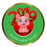 Στρογγυλά ψηφία εμβλημάτων ή αυτοκόλλητων ετικεττών με snowflakes 2019 και χαριτωμένος χοίρος, zodiac σύμβολο στο κινεζικό ημερολ διανυσματική απεικόνιση