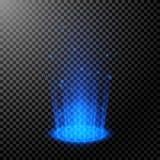 Στρογγυλές μπλε ακτίνες πυράκτωσης Σκηνή νύχτας με τους σπινθήρες r Κενή εξέδρα ελαφριάς επίδρασης E r διανυσματική απεικόνιση
