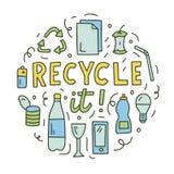 Στρογγυλή έννοια doodle οικολογίας απεικόνιση αποθεμάτων