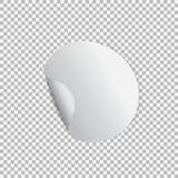 Στρογγυλή αυτοκόλλητη ετικέττα με τη φλούδα από τη γωνία σε ένα διαφανές υπόβαθρο Στοκ Φωτογραφίες