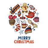 Στρογγυλή ευχετήρια κάρτα Χριστουγέννων με το κείμενο, doodles Στοκ φωτογραφίες με δικαίωμα ελεύθερης χρήσης