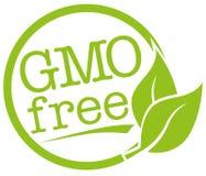 Στρογγυλή πράσινη ετικέτα με το φύλλο και κείμενο ΓΤΟ ελεύθερο για γενετικά χωρίς τροποποιήσεις ελεύθερη απεικόνιση δικαιώματος