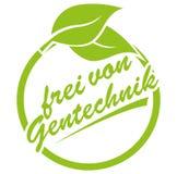 Στρογγυλή πράσινη ετικέτα με το frei von Gentechnik, γερμανικά φύλλων και κειμένων για γενετικά χωρίς τροποποιήσεις διανυσματική απεικόνιση