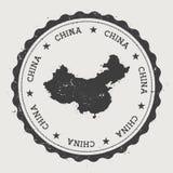 Στρογγυλή σφραγίδα της Κίνας hipster με το χάρτη χωρών Στοκ Εικόνες