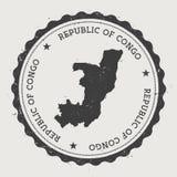 Στρογγυλή σφραγίδα του Κονγκό hipster με το χάρτη χωρών Στοκ Εικόνες