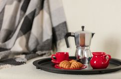 Στρογγυλός μαύρος δίσκος μετάλλων με έναν κατασκευαστή καφέ και ένα φλυτζάνι σε έναν άσπρο καναπέ με ένα γκρίζο καρό και τα μαξιλ στοκ εικόνα με δικαίωμα ελεύθερης χρήσης