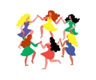 Στρογγυλός χορός γυναικών Οι γυναίκες με μακρυμάλλη και τα φορέματα κρατούν τα χέρια Διανυσματική απεικόνιση στις 8 Μαρτίου ελεύθερη απεικόνιση δικαιώματος
