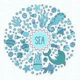 Στρογγυλό διανυσματικό πλαίσιο πλασμάτων θάλασσας ωκεάνιο υποβρύχιο doodle απεικόνιση αποθεμάτων