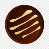 Στρογγυλό εικονίδιο μπισκότων σοκολάτας, ύφος κινούμενων σχεδίων διανυσματική απεικόνιση