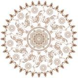 Στρογγυλό καφετί henna σχέδιο με henna mehandi τους ελέφαντες στο ινδικό ύφος Απεικόνιση που απομονώνεται διανυσματική στοκ εικόνες