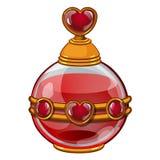 Στρογγυλό μπουκάλι με το άρωμα ή το ελιξίριο και καρδιά για την ημέρα βαλεντίνων διανυσματική απεικόνιση