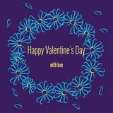 Στρογγυλό πλαίσιο για το σχέδιο ημέρας του ρομαντικού βαλεντίνου Στρογγυλό στεφάνι των λουλουδιών μαργαριτών Σχέδιο των γραμμών π απεικόνιση αποθεμάτων