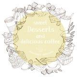 Στρογγυλό πλαίσιο με τα επιδόρπια για το κείμενό σας Μονοχρωματικές σκιαγραφίες των γλυκών και των επιδορπίων διανυσματική απεικόνιση