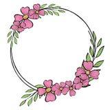 Στρογγυλό πλαίσιο με τα λουλούδια και τα φύλλα Διανυσματική απεικόνιση στο ύφος σκίτσων Πρότυπο Θέση για το κείμενό σας Χλεύη επά ελεύθερη απεικόνιση δικαιώματος