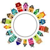 Στρογγυλό πλαίσιο με τα σπίτια κινούμενων σχεδίων απεικόνιση αποθεμάτων