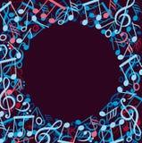 Στρογγυλό πλαίσιο φιαγμένο από ζωηρόχρωμες σημειώσεις μουσικής Στοκ Εικόνες