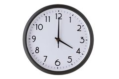Στρογγυλό ρολόι τοίχων γραφείων στο λευκό, Στοκ Εικόνες