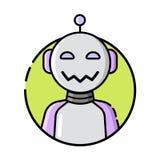 Στρογγυλό ύφος γραμμών εικονιδίων ρομπότ στο άσπρο υπόβαθρο απεικόνιση αποθεμάτων