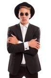 Στρογγυλά γυαλιά ήλιων και φανταχτερό καπέλο Στοκ φωτογραφία με δικαίωμα ελεύθερης χρήσης
