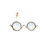 Στρογγυλά γυαλιά και φωτισμός ελεύθερη απεικόνιση δικαιώματος